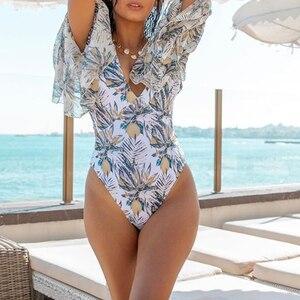 Image 3 - In x seksowny kwiatowy print strój kąpielowy jednoczęściowy zasznurować stroje kąpielowe kobiety rękaw vintage monokini V neck bikini 2019 kombinezon bez pleców