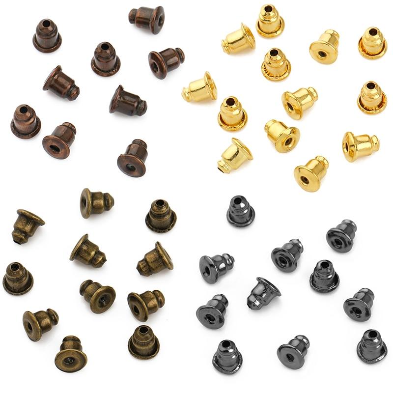 BITWBI 100pcs Copper Metal Bullet Hard Earring Backs Plugging Blocked  Ear Back DIY Earrings Jewelry Making Findings Accessories