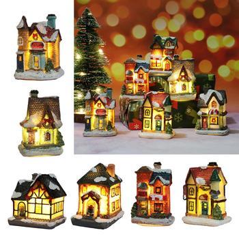 Christmas Village Houses 10PCS//Set Christmas Village Ornament Decoration Set Snow House Villlage with Santa Claus Led Light Christmas Winter Village for Christmas Party