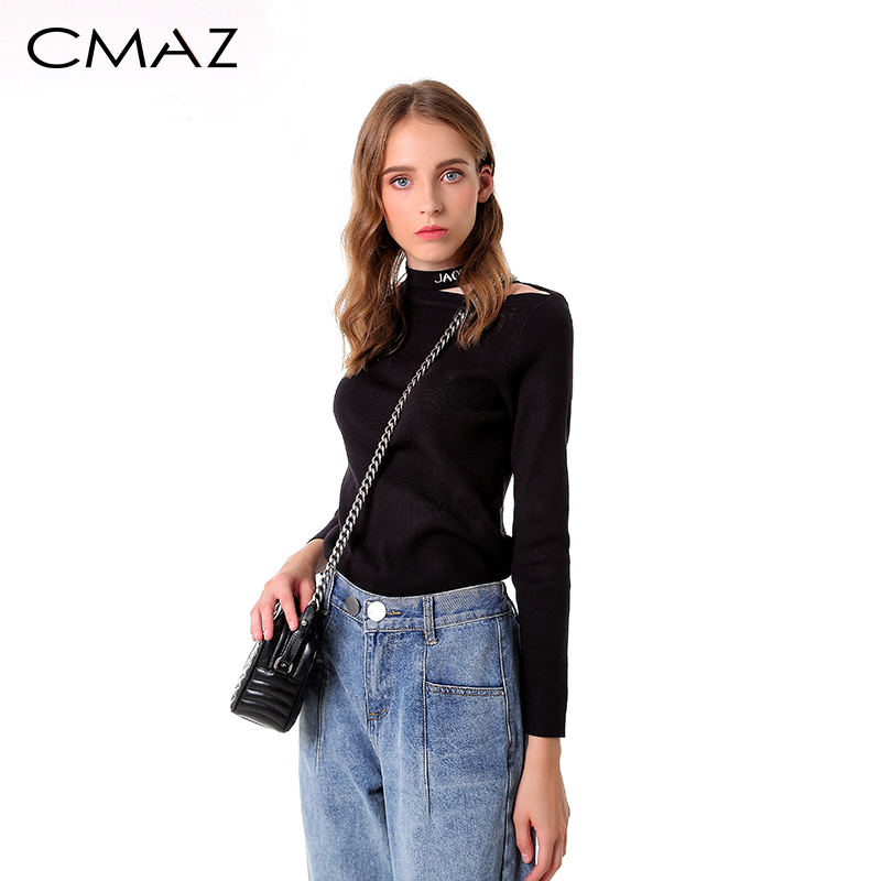 CMAZ New Sweaters Female 2019 Autumn Winter Fashion Solid Long Sleeve Office Lady Jumper Solid Pullovers Women Tops MX18D5123