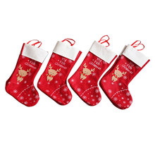 Xmas Party Home Ornament Xmas Sock White Deer Bag Holiday Gi