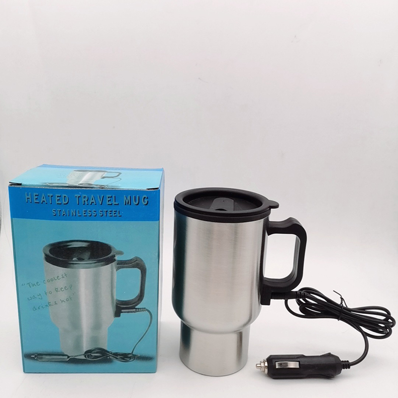 Stainless Steel Kettle Car Auto Adapter 12 V Heated Travel Thermos Heating Cup Removable Electric Supply Connector