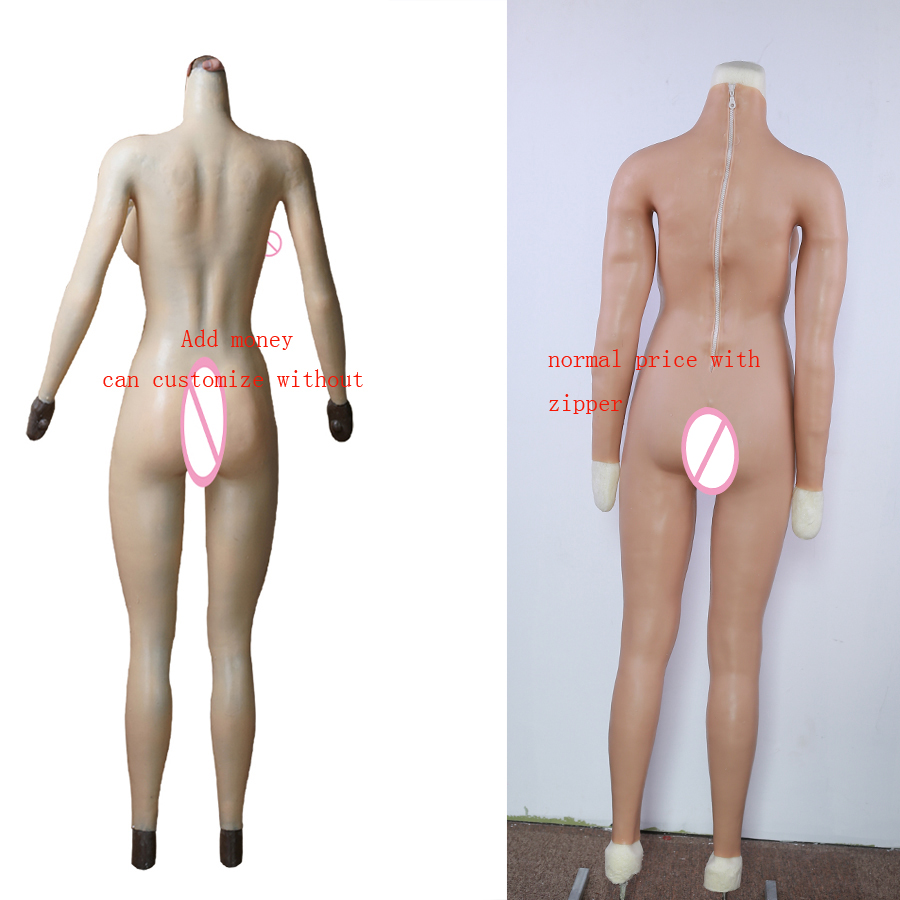 Image 3 - Solid Silicone Boobs Vagina Bodysuit For Crossdresser With Sleeves F Cup Breast Form Buttocks Pad Breast Plate Fake Pussy Vagina