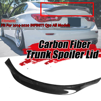 124cm Real Carbon Fiber Car Trunk Spoiler Lid Fits For Infiniti Q50 2014-2018 Highkick Aluminum Rear Wing Spoiler Rear Trunk