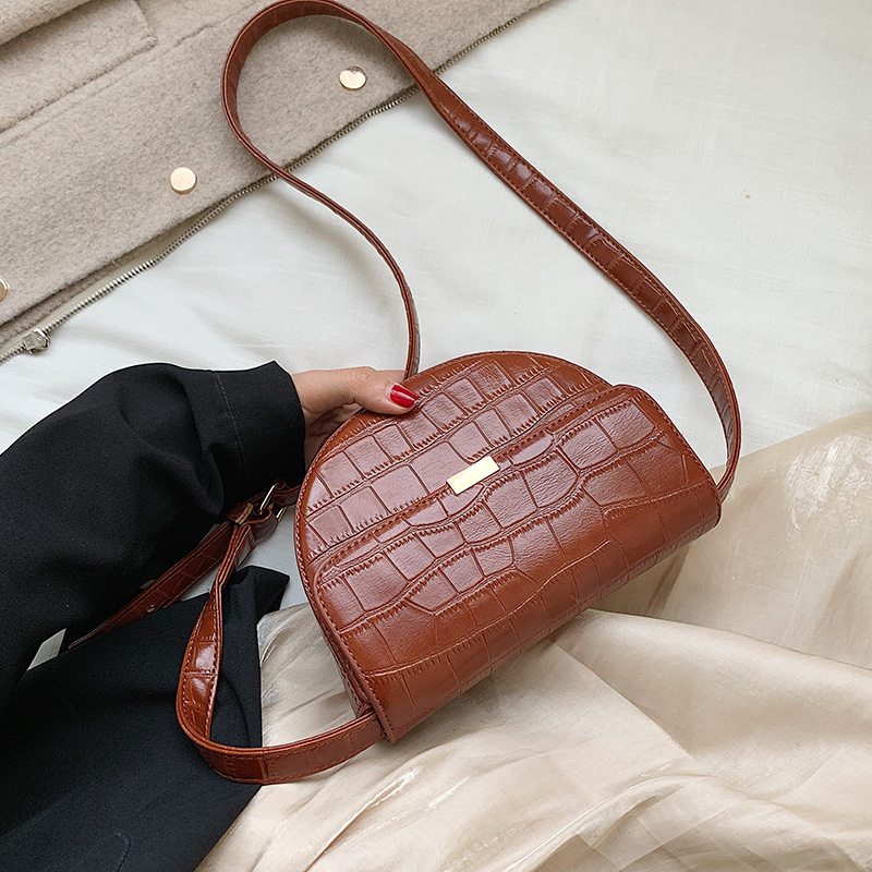 Stone Pattern PU Leather Crossbody Bags For Women 2020 Shoulder Messenger Bag Lady Handbags And Purses Small Saddle Bag