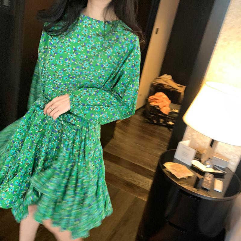 TWOTWINSTYLE 우아한 인쇄 여성 드레스 O 넥 랜턴 긴 소매 높은 허리 레이스 최대 활 여성 패션에 대 한 미니 드레스