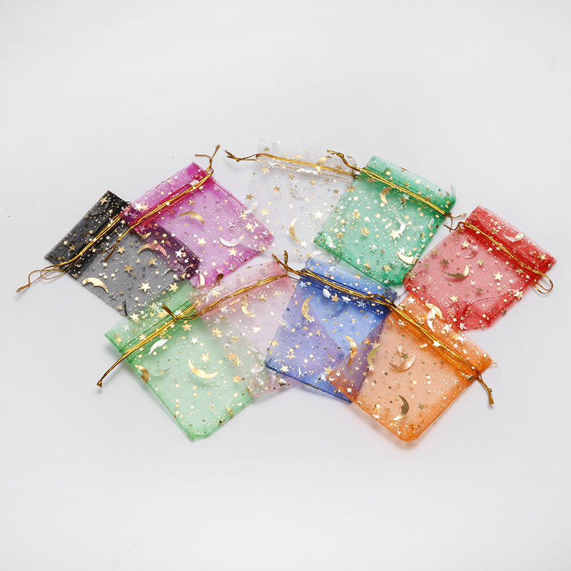 100pcs/set 7x9cm Moon Star Organza Bags Christmas Drawstring Gift Bag Charm Jewelry Packaging Display Bags Pouches