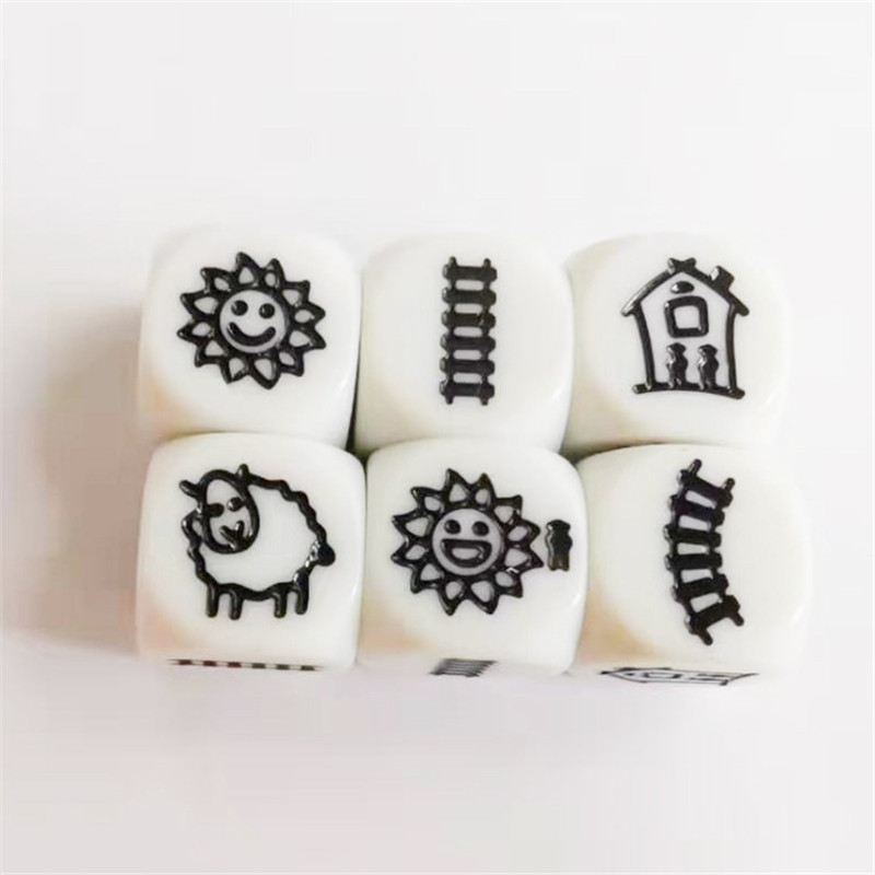 5pcs/set 6 Sided Carving Pattern Dice With 6 Kinds Pattern For Funny Puzzle Board Game Children Education Dice 18mm