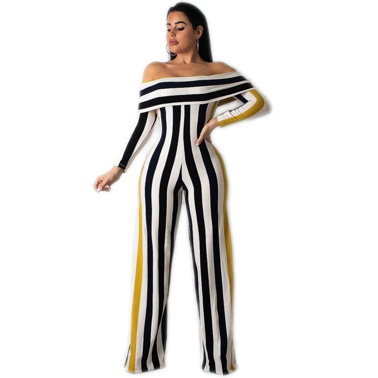 Pop Tide Off Shoulder Striped Casual Jumpsuit Sexy Slash Neck Bodysuits Overalls Women Long Sleeve Wide Leg Party Rompers