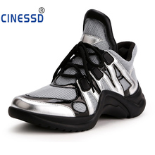 CINESSD Luxury Brand Women Sneakers Mixed Color Lace Up Women Platform Casual Shoes 2019 Fashion Street Style Daddy Shoes Woman woman sneakers metallic color woman shoes front lace up woman casual shoes low top rivets embellished platform woman flats brand
