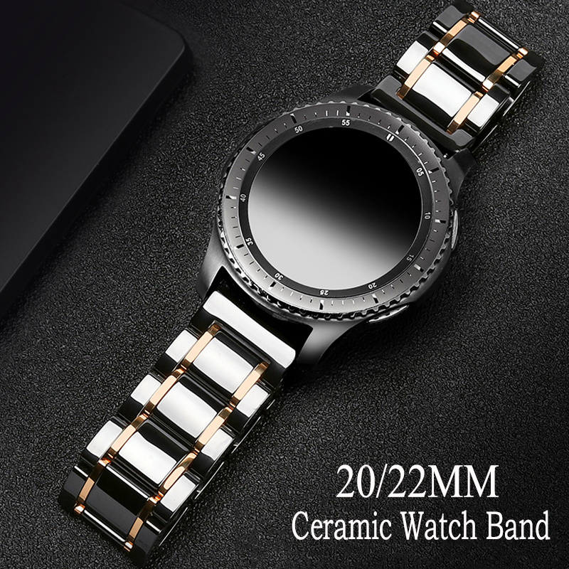 20 22mm Ceramic Watch Band For <font><b>Samsung</b></font> Galaxy <font><b>46mm</b></font> 42mm Replacement band Active 2 44mm 40mm Gear S3 S2 Huawei gt 2e <font><b>46mm</b></font> <font><b>Strap</b></font> image