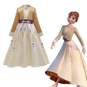Желтое платье принцессы Анны Снежной Королевы 2 летние сетчатые повседневные белые платья Эльзы для костюмированной вечеринки для маленьк...