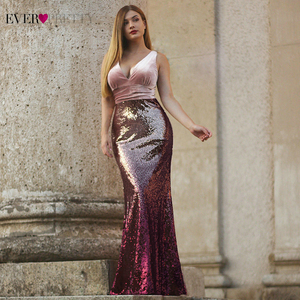 Image 4 - Robe De Soiree Pretty EZ07767ใหม่เซ็กซี่V Neck Mermaid BurgundyชุดราตรียาวElegant Abendkleider 2020