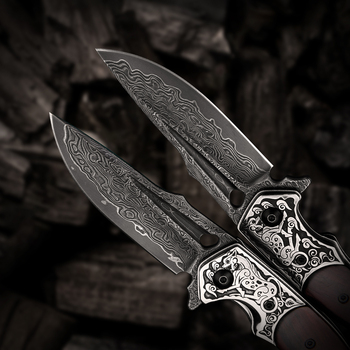 Handmade Folding Knife Damascus Steel Blade Wooden Handle EDC Self Defense Camping Hunting Tactical Pocket Knives with Sheath 5