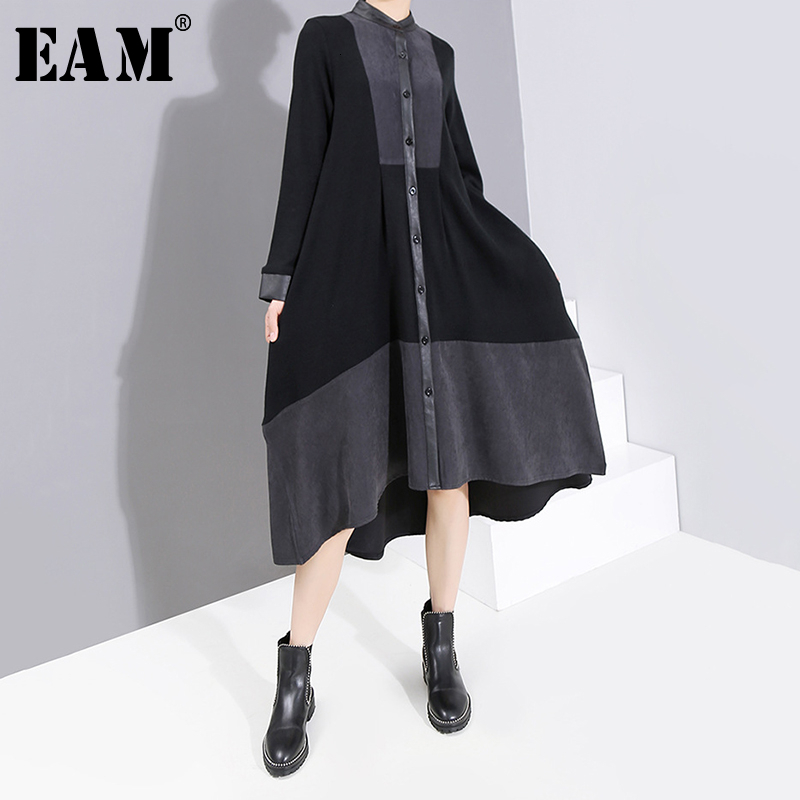 [EAM] Women Black Bandage Asymmetrical Dress New Stand Collar Long Sleeve Loose Fit Fashion Tide Spring Autumn 2020 19A-a809