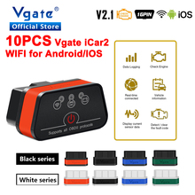 Free Shipping 10pcs Vgate iCar2 ELM327 OBD OBD2 Wifi Scanner car Diagnostic Tool for Android/IOS ELM 327 ODB2 Auto Code Reader