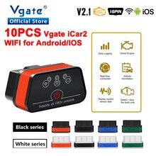 Vgate iCar2 herramienta de diagnóstico para coche, escáner OBD OBD2 Wifi, para Android/IOS, ELM 327, lector de códigos para automóvil, 10 Uds., envío gratis
