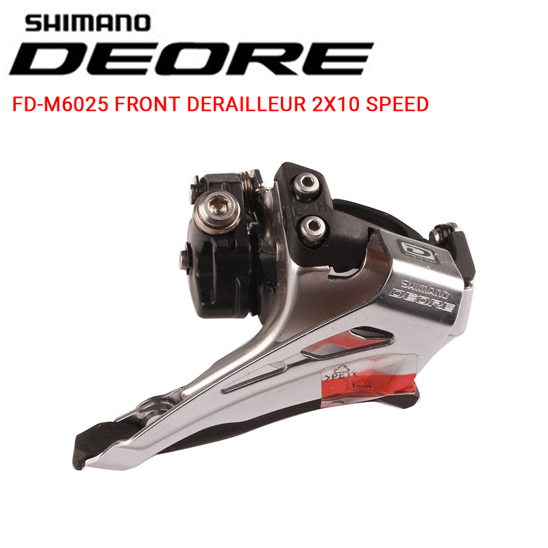 Shimano Deore M6025 <font><b>2x10</b></font> Speed 34.9 Clamp MTB Bike Bicycle Update m615 <font><b>2x10</b></font> Speed High DownSwing Front Derailleur Dual Pull image