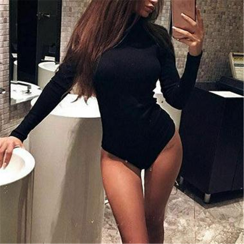 New Solid Color Slim Jumpsuit Fashion Sheer Long Sleeves Leotard Plsysuit Fashion Female Bodycon High Collar Rompers Autumn Hot