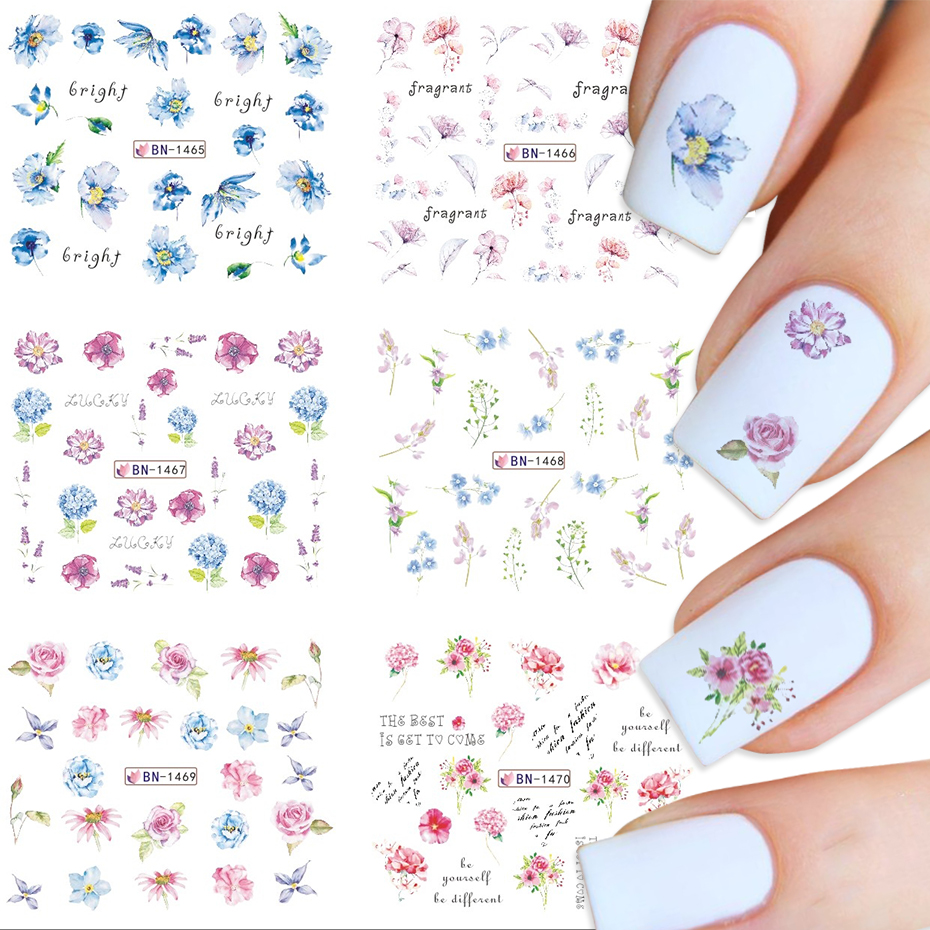 12x весенне-летние цветы для ногтей водная наклейка роза лист гортензии цветок для художественное оформление ногтей водяной знак клейкая ...