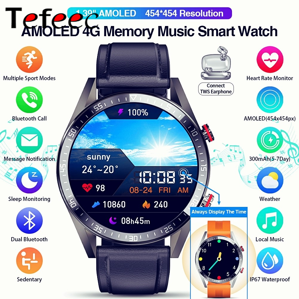 454*454 AMOLED Screen Smart Watch Always Display The Time Bluetooth Call Local Music Smartwatch for Men Android TWS Earphones