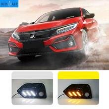 2PCS LED DRL nebel lampe Fahren lichter Gelb Blinker Lampe Für Honda CIVIC hatchback 2020 2021 Tagfahrlicht licht