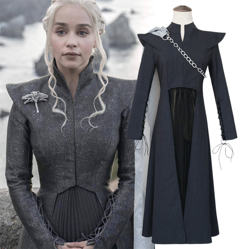 Game Of Thrones Daenerys Targaryen Costume Black Cosplay Dress Fantasia Halloween Fashion Women Dress