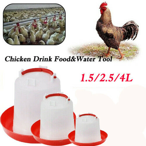 Red Poultry Water Drinker Tools Drinking Cups Feeder Chicken Hen Plastic Set Kit