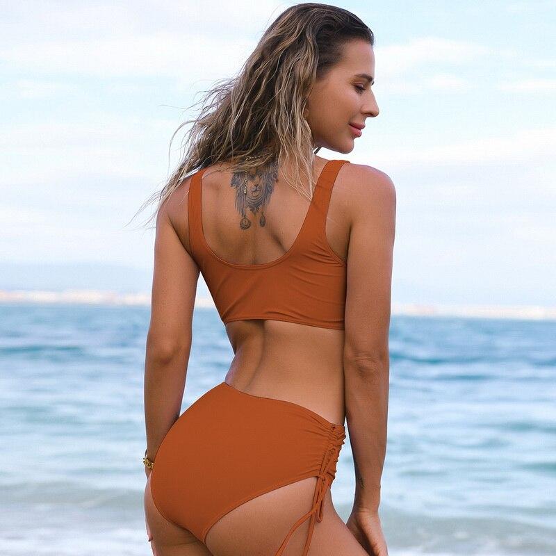 Solid Sexy Bikini 2021 Summer Swimsuit Women 2 Pieces High Waist Bikini Push Up Swimwear Tankini Swimsuits Bathing Suit Women 3