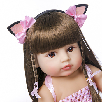 55cm NPK bebe doll reborn toddler girl pink princess baty toy very soft full body silicone girl doll 2