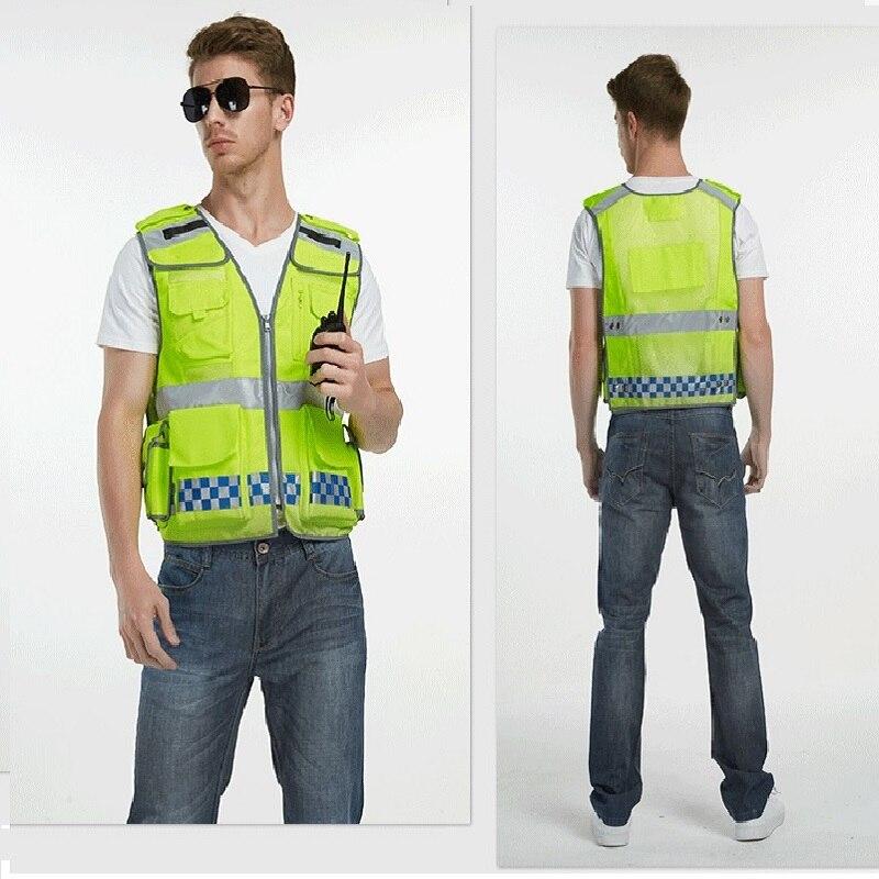 Hi Vis Reflective Vest Zipper Mesh Vest Traffic Warning Clothing Functional Multi Pocket Building Sanitation Road Safe Vest Tops