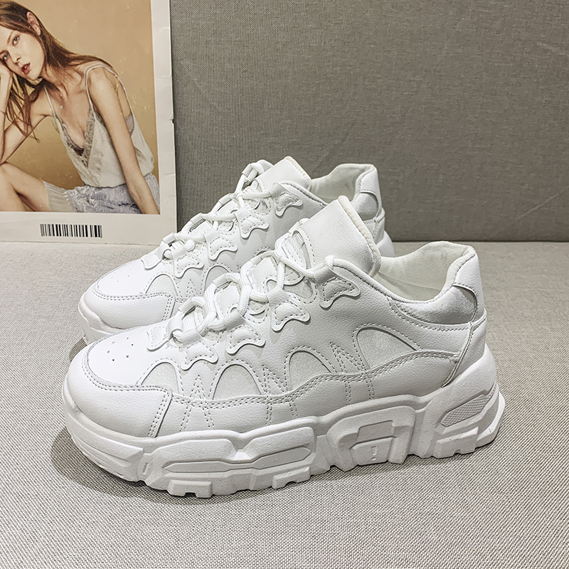 Women Thick Soled Sneakers PU Leather Designers Platform White Casual Shoes Woman Old Dad Shoes Ulzzang Fashion Female Trainers