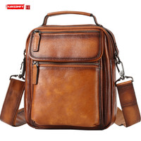 Genuine Leather Men's Bag Fashion Casual Shoulder Messenger Bag Men Handbag Tide Sports Small Bags Korean Version of The Vintage