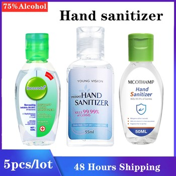 5pcs/lot Portable 75% Alcohol Hand Gel Sanitizer Non Wash Quick Drying Hand Gel Sanitizer In Stock 50ml 55ml Fast Shipping Gel free shipping 5pcs fa5571n in stock
