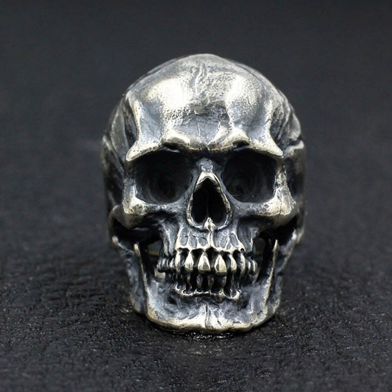 Vintage Silver Black Skeleton Ring For Men Retro Rock Punk Vampire Skull Ring Men Punk title=
