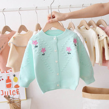 Coat Cardigan Sweaters Baby Clothes Baby-Girl Children's Autumn New Flowers Embroidery