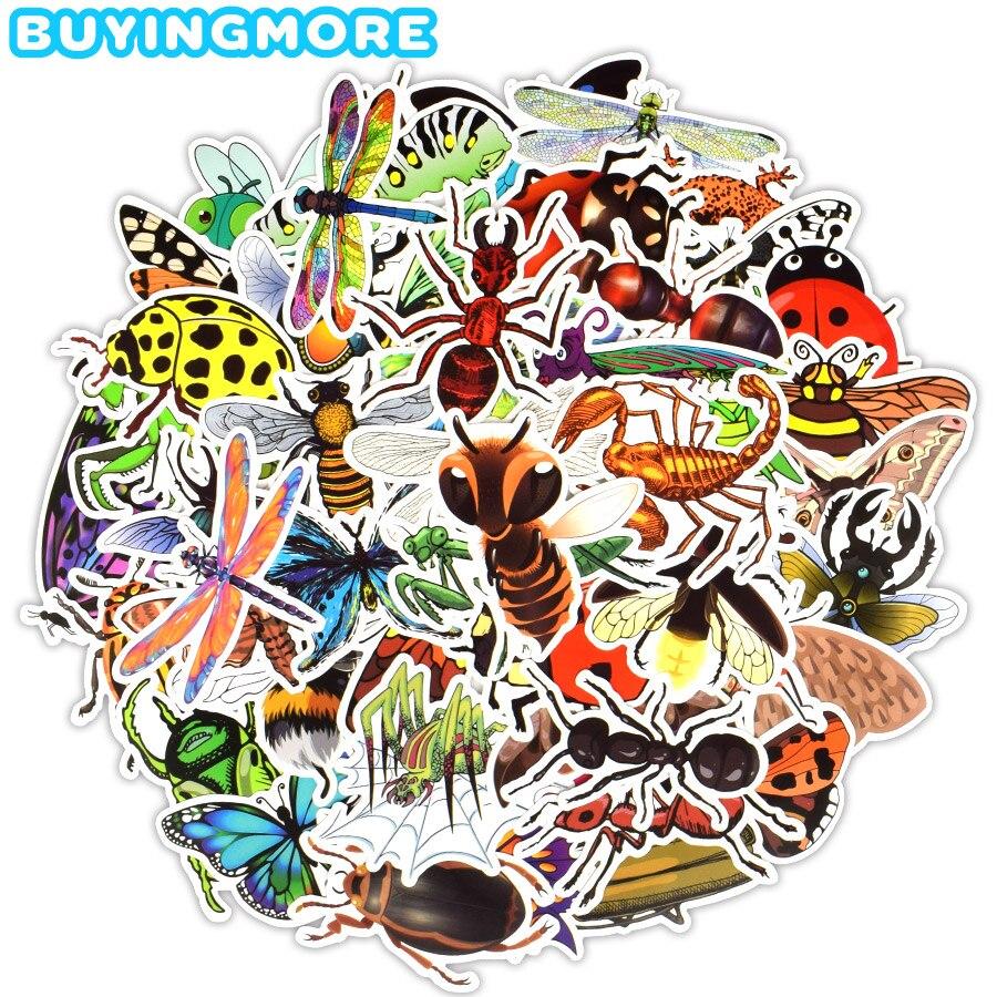 50 PCS Insect Animal Stickers Kids Toy Cute Lifelike Beetle Butterfly Cartoon Waterproof Sticker DIY Scrapbook Education Sticker