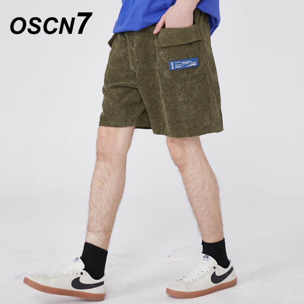 OSCN7 Casual Japanese Streetwear Hip Hop Stripe Side Letter Print Shorts Men 2020 Fashion Bermuda Short Pants Men H9142