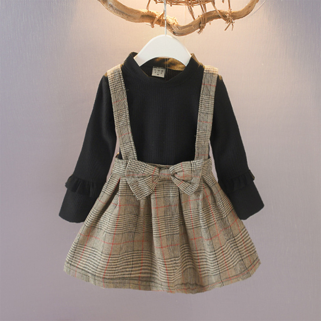Kids Dress Princess-Skirt Long-Sleeves Girl Baby Fashionable Casual Children's Lattice title=