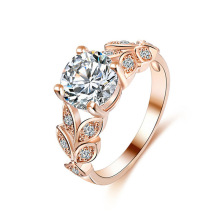 Fashion women's jewelry  Wedding engagement crystal alloy ring  Elegant temperament rose gold cube zircon ring gift стоимость