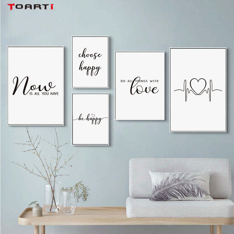 Inspirational Life Quote Prints Posters Be Happy Letters Canvas Painting Modern Wall Pictures For Living Room Bedroom Home Decor