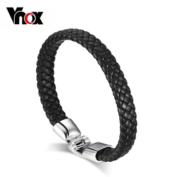 Vnox Braided Leather Bracelet for Men Bangle Fashion Jewelry Black Coffee White