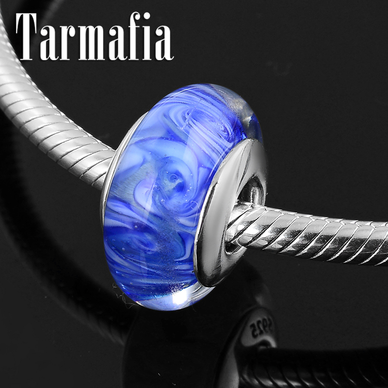 Beautiful 925 Sterling Silver Blue Butterfly Murano Glass Charm