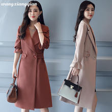 Women's Fashion Trench Coat 2019 Autumn Windbreaker Casual Cotton Mid-length Solid Color Lapel Long Sleeve Slim Trench Coat Z8 lapel collar adjustable sleeve trench coat
