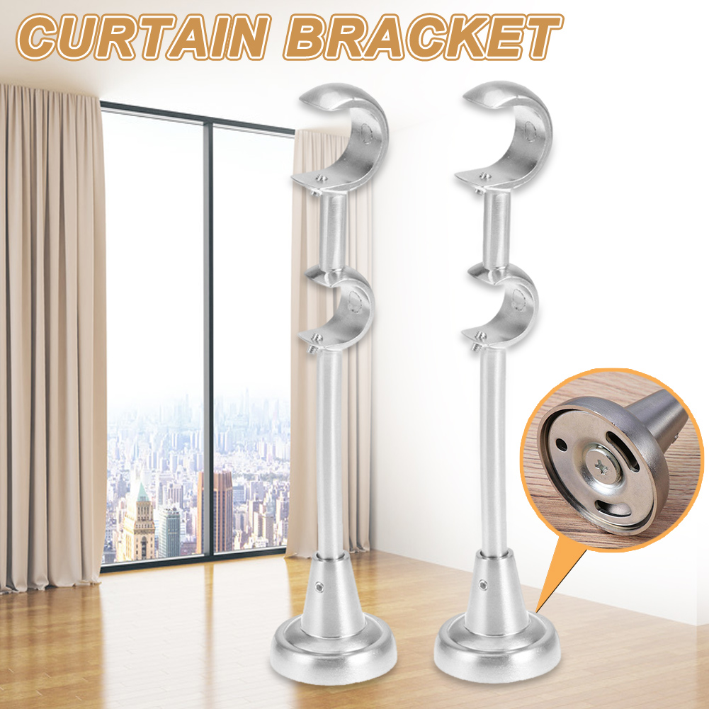 20mm/25mm Double Curtain Rod Brackets Drapery Pole Holder Heavy Duty For Home E2S