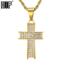 Ожерелье и подвески с крестом украшенные камнями цепь из нержавеющей