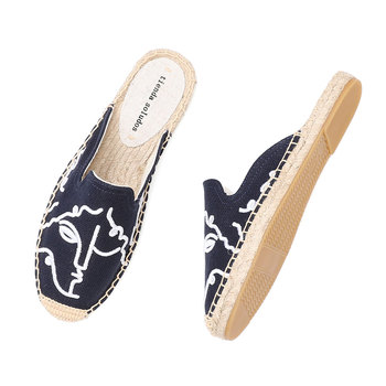Tienda Soludos Espadrilles Slippers For For Flat 2019 Real Special Offer Hemp Summer Rubber Print Woman Shoes Mules Pantufa  1