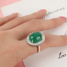 Fashion Green Chalcedony Gemstone Ring Turquoise Oval Flower Agate for Women Jade anillos de bizuteria(China)