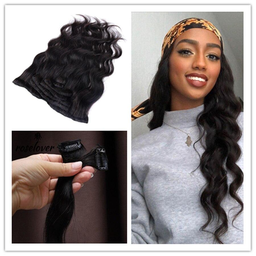 Extensiones de cabello humano brasileño Roselover de 30 pulgadas con Clip rizado largo para mujer, color negro y marrón