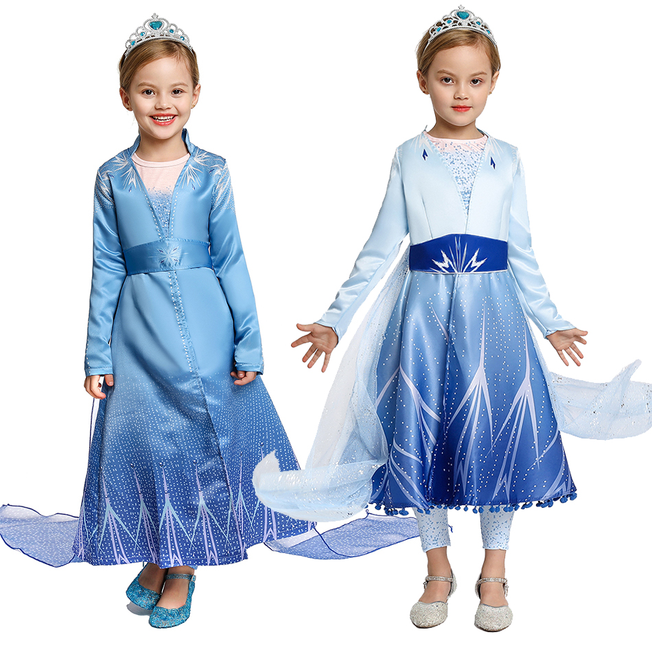Kids Girls Cartoon Frozen2 Elsa Anna Cosplay Costume Christmas Party Fancy Dress